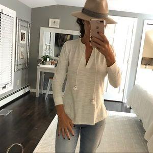 Ann Taylor loft white cotton tassel shirt small